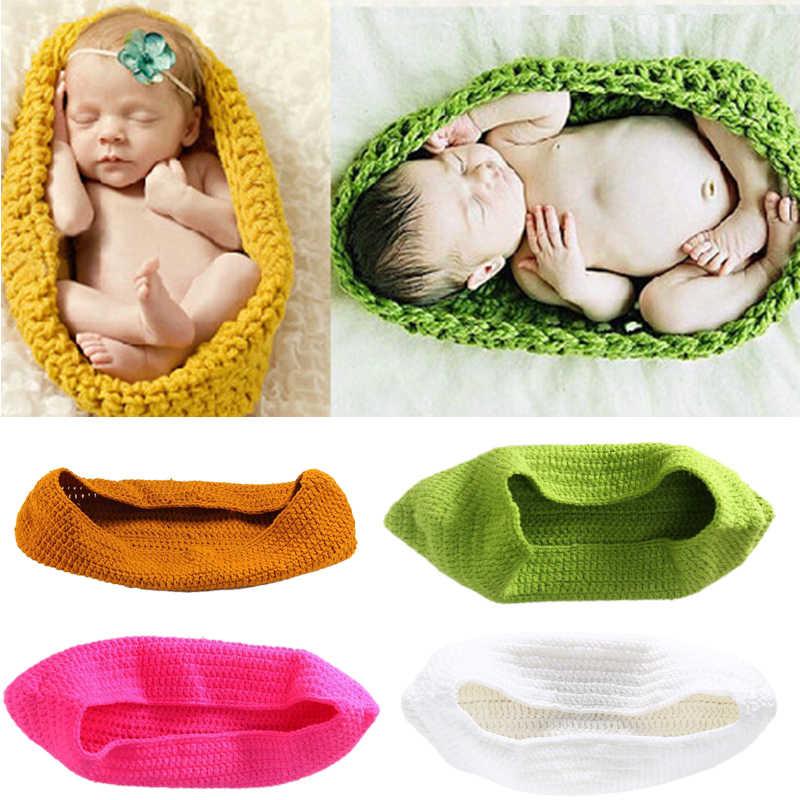 Bonito Crochê de Lã Sacos de Dormir Do Bebê Recém-nascido Malha Chunky Casulo Swaddle Fotografia Adereços Saco de Dormir Do Bebê Ervilha
