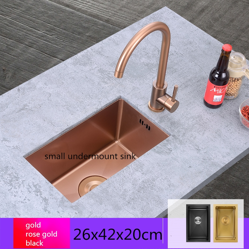 Rose Gold Mini Sink Brushed Kitchen Sinks Balcony Small Apartment Bar Small Single Slot Kitchen Sink Undermount  Soap Dispenser