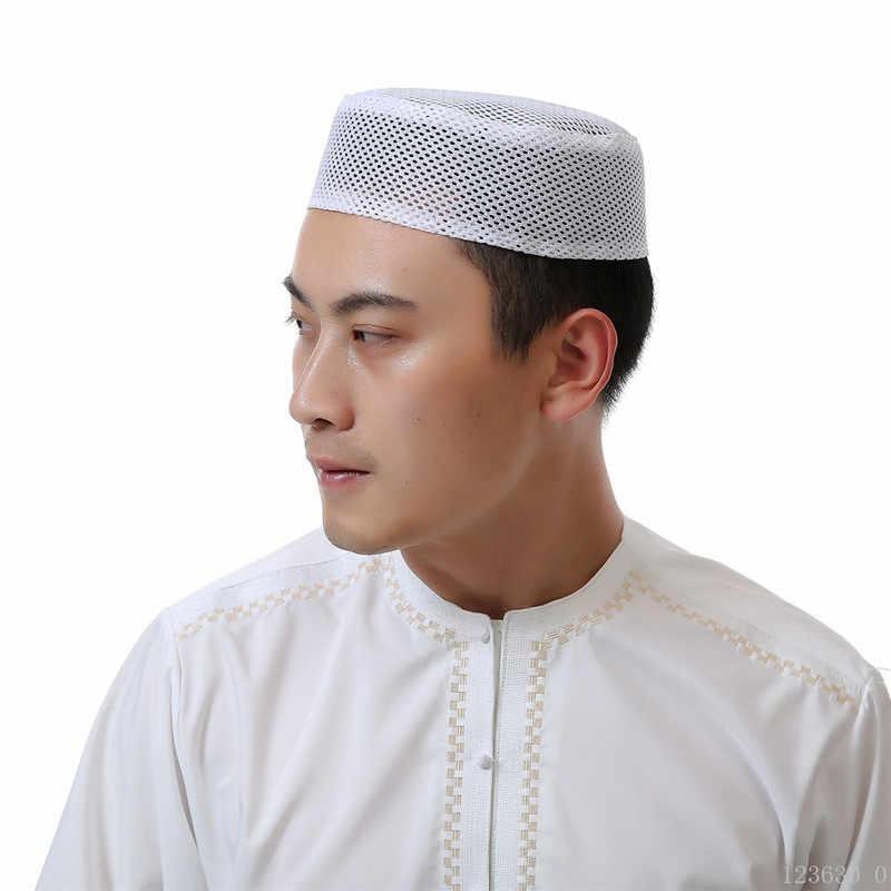 2020 แฟชั่นชายอาหรับหมวกชาวยิวอินเดียสวดมนต์หมวก Breathable ตาข่ายแบนด้านบนบริสุทธิ์ Hijab หมวกสำหรับชายอิสลามชายหมวก