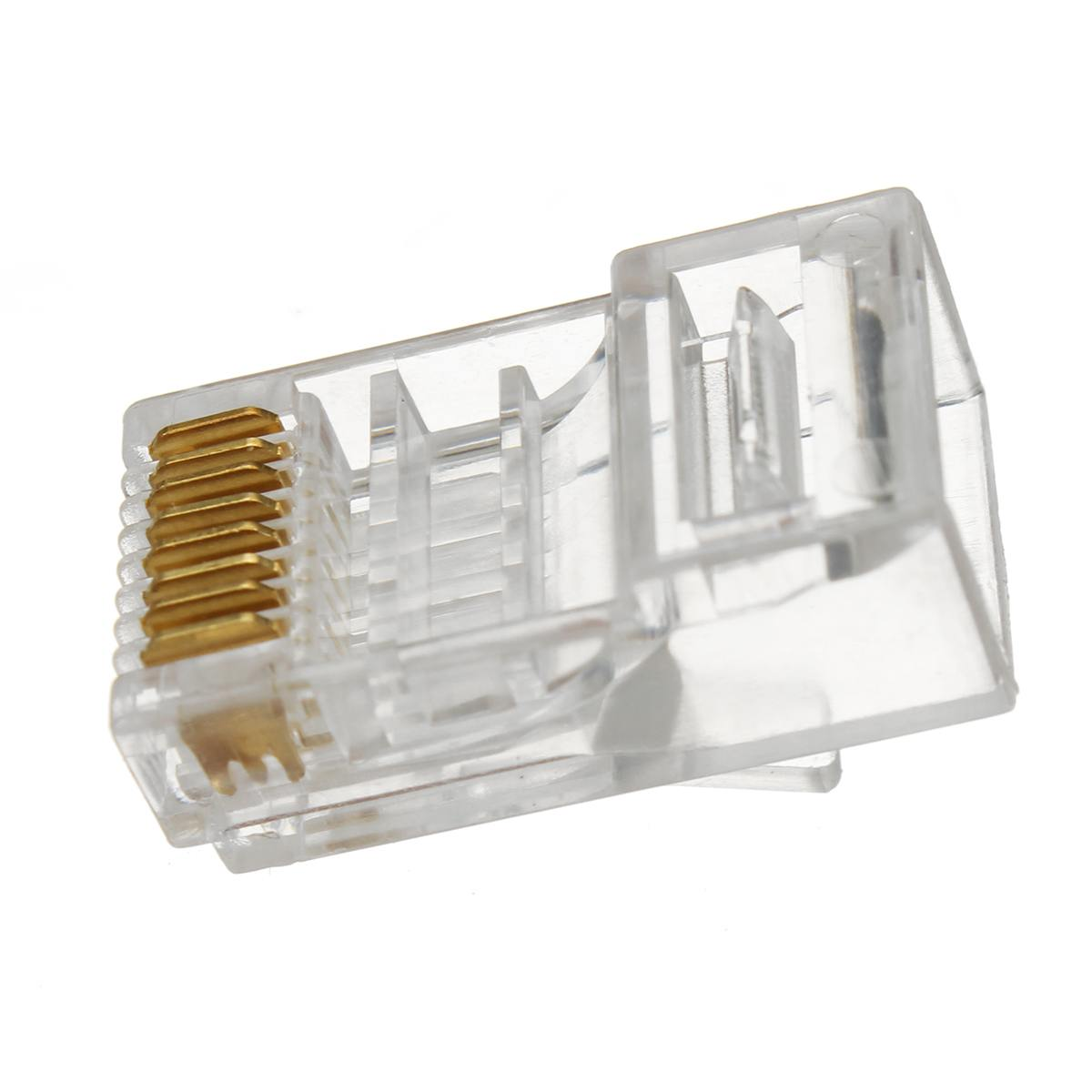 100 Pcs RJ45 Network Shielded Modular Plug CAT6 8P8C Connector End Pass Through