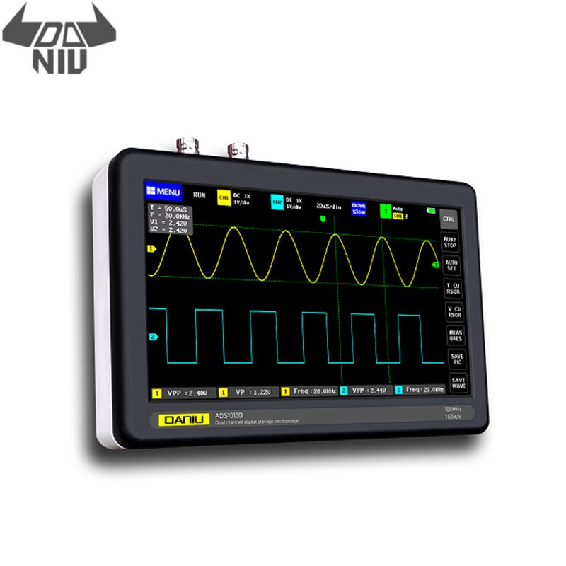 DANIU ADS1013D 2 Channels <font><b>100MHz</b></font> Band Width 1GSa/s Sampling Rate <font><b>Oscilloscope</b></font> with 7 Inch Color TFT LCD Touch Screen image