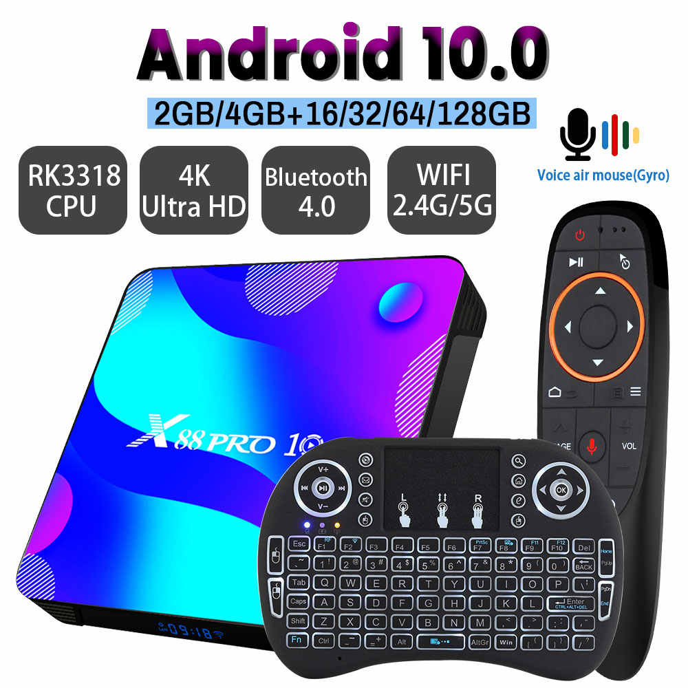 Android 10.0 TV BOX X88 PRO 10 32G 64G 128G 2.4G & 5G RK3318 4K 3D Bluetooth TV Receiver H.265 Cepat Set Top TV Box