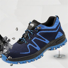Designer Men's Outdoor Breathable Steel Toe Anti Smashing Safety Shoes Men Light Puncture Proof Comfortable Work Shoes Boot sitaile breathable mesh steel toe safety shoes men s outdoor anti smashing men light puncture proof comfortable work shoes boot