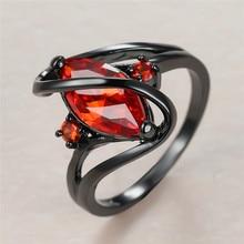 Anel de noivado do zircão da folha da noiva do luxo do anel de noivado do ouro do preto 14kt do anel de pedra do cristal vermelho do vintage feminino clássico