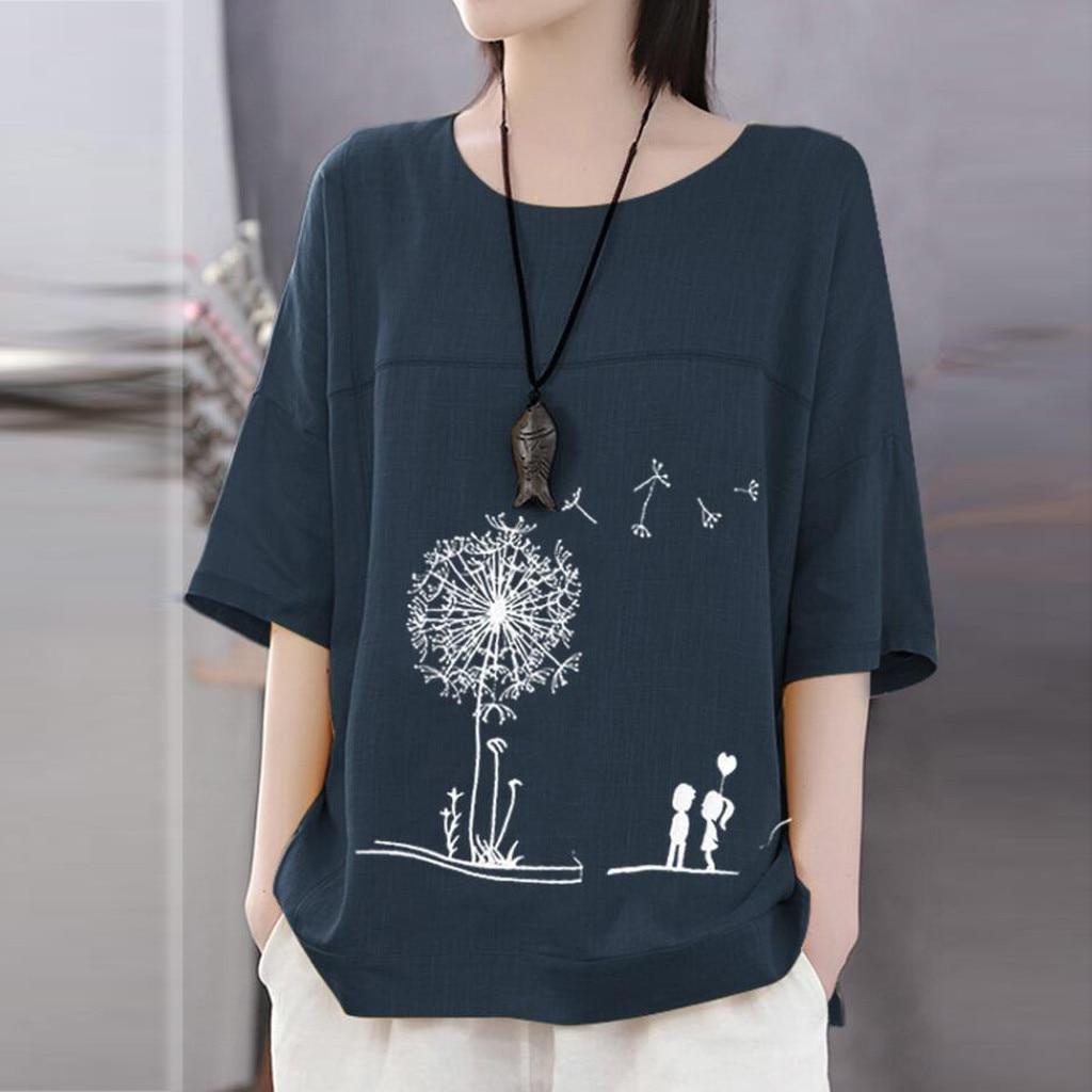 Женская футболка размера плюс 5XL с коротким рукавом, топ из хлопка и льна с круглым вырезом и принтом, Женская Повседневная Уличная футболка,...