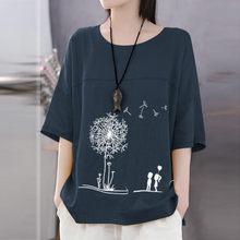 Plus size 5xl camisa de manga curta de algodão de linho o pescoço imprimir topo camiseta feminina casual streetwear camiseta femme 2021