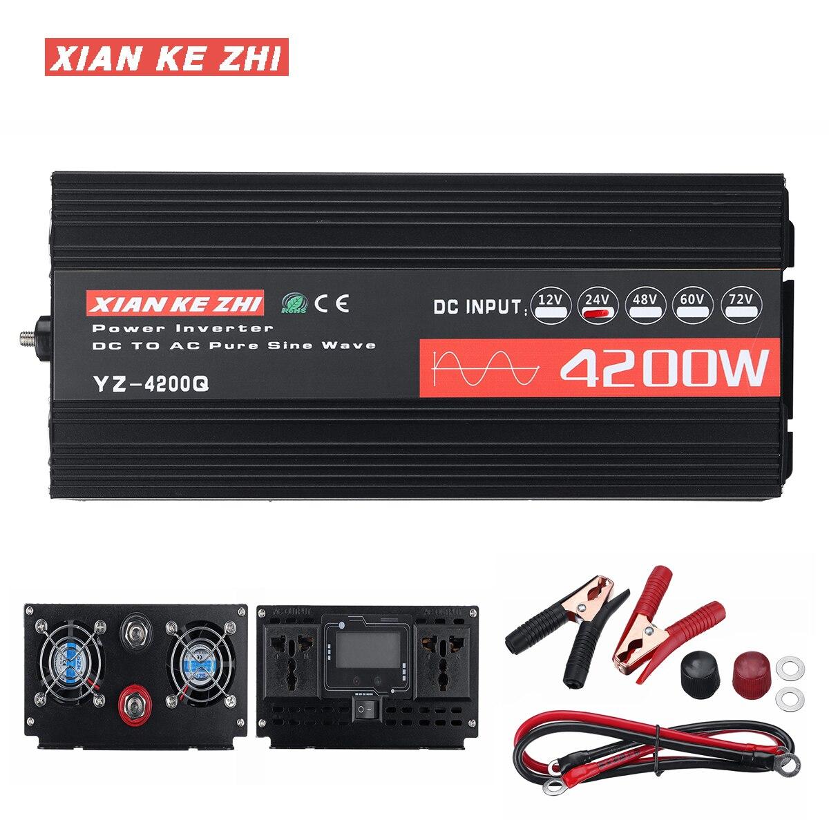 Car Inverter 12V 220V 2600/4200W 12/24V Voltage Transformer Pure Sine Wave Power Inverter DC12V To AC 220V Converter LED Display