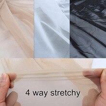 Сверхтонкий нейлон, 4 способа растягивания, спандекс, сетчатая ткань, нижнее белье, чулки, трикотажная сетка, телесный цвет, высокая эластичность
