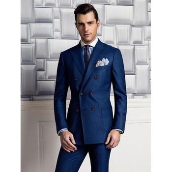 New Men's Suit Smolking Noivo Terno Slim Fit Easculino Evening Suits For Men Navy Blue Groom Tuxedos Bridegroom Groomsman Jacket