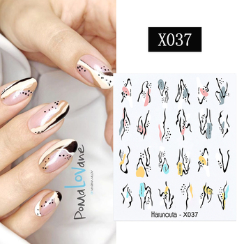 1PC Face Image Water Decals Spring Summer Theme Fruit Flower Leaves Transfer Nail Art Stickers Slider Manicures Watermarks image