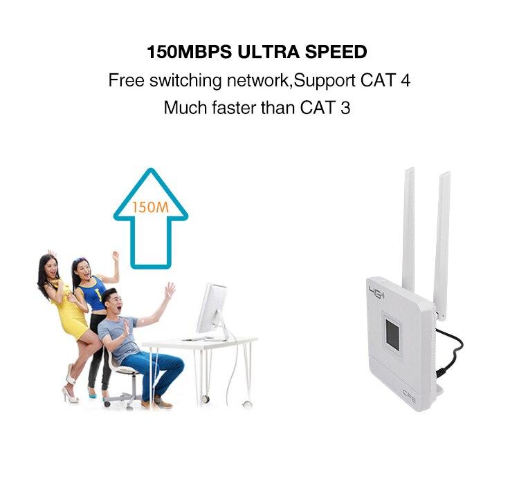 KuWfi 4G Sim Card Wifi Router CAT4 150Mbps Wireless CPE Router 4G LTE FDD/TDD Unlock Router With External Antennas WAN/LAN RJ45 5