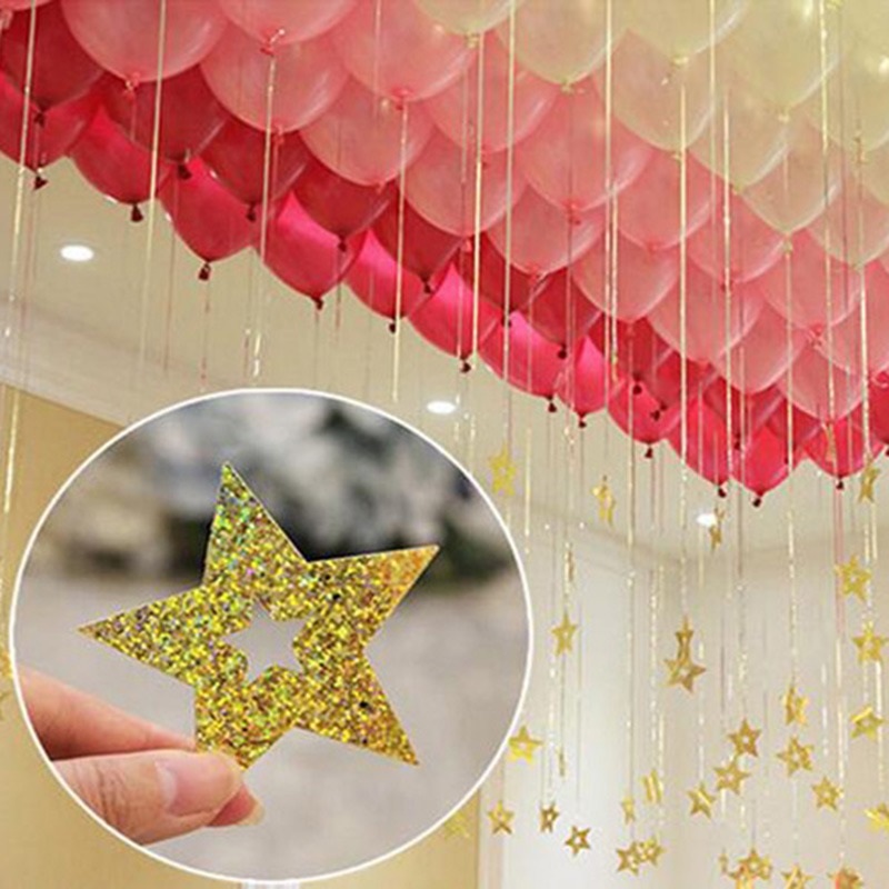 NEW 100Pcs Bling Shiny Stars Paperboard Cards Balloons Pendant Ribbon Wedding Balloon Decoration Party Supplies 6 Color Optional