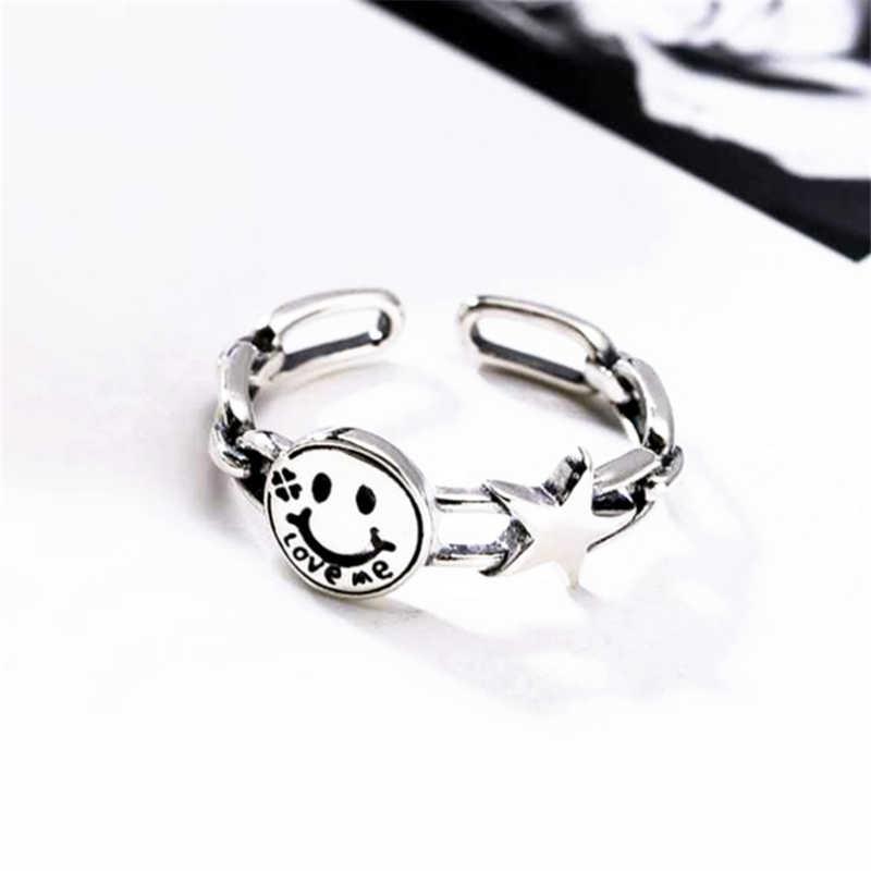 Ювелирные изделия Happy Smile Face, оптовая продажа, Стерлинговое серебро 925, Большие широкие кольца, буквы Love Me, звезда, Ретро стиль, регулируемое женское кольцо