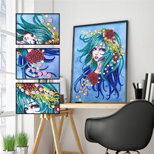 5D DIY Diamond Painting Special Shaped Beauty Animal Embroidery Sticker Rhinestone Decoration