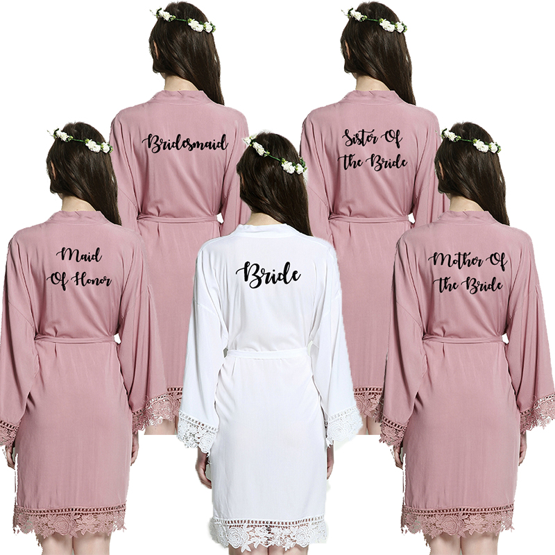 YUXINBRIDAL2019 New Mauve Bride Bridesmaid Bride Robes Cotton Kimono Robes With Lace Trim Women Wedding Bridal Robe Short