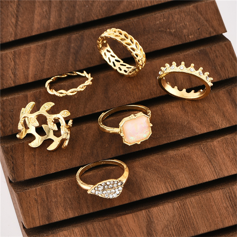 New Fashion Ring Set Bohemian 6pcs Ring Leaves Full Crown Personality Creative Style Ring Banquet Party Decorations in Rings from Jewelry Accessories