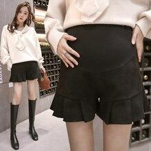 Осенние и зимние плиссированные кружевные шорты для беременных женщин, свободные трапециевидные широкие шерстяные шорты для беременных, шорты с оборками