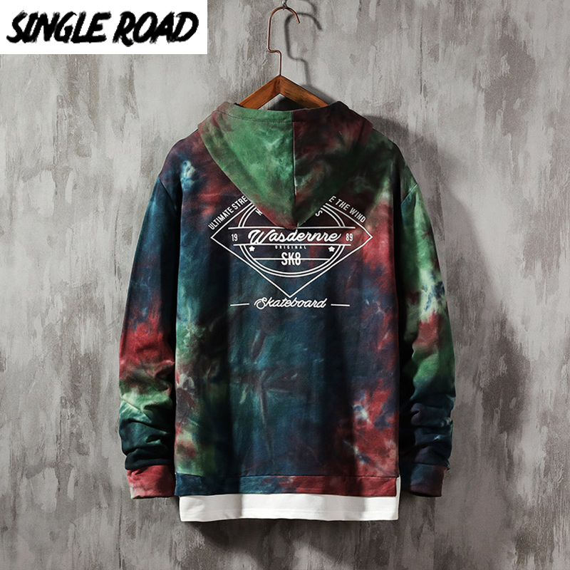 SingleRoad Oversized Men's Hoodies 100% Cotton Tie Dye Hip Hop Sweatshirt Male Harajuku Japanese Streetwear Black Hoodie Men