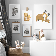 Cartoon Deer Bear Fox Panda Raccoon Family Wall Art Canvas Painting Nordic Posters And Prints Pictures Baby Kids Room Decor