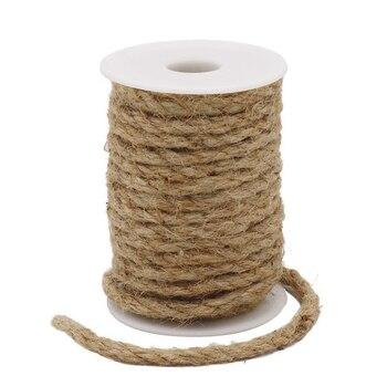 12 Rolloscaja De Yute Natural Trenzado Cuerdas Con Hojas De