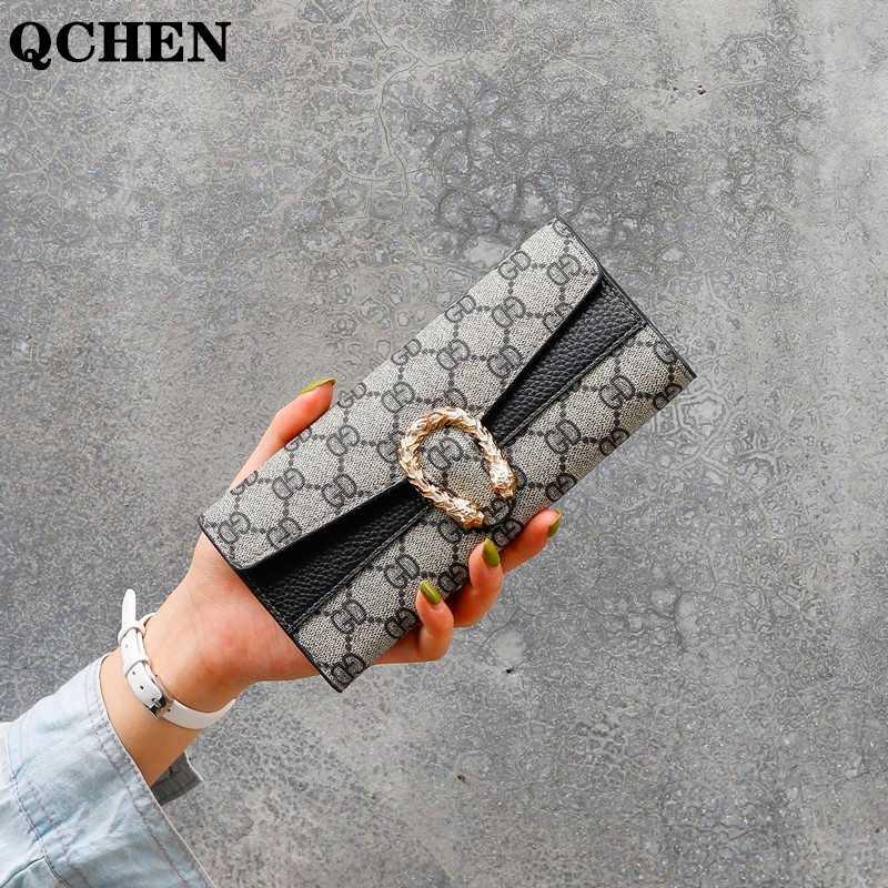 Wallet Women Long Luxury Brand Leather Coin Purses Tri-fold Soft Skin Buckle Clutch Female Money Bag Hand Credit Card Holder 693