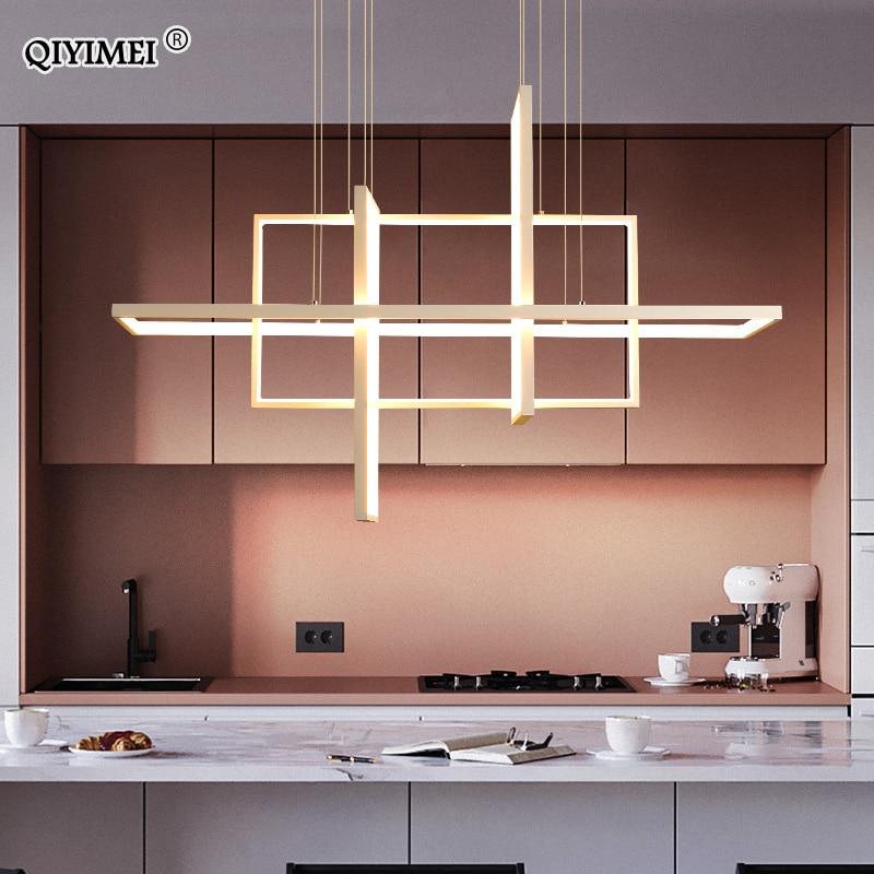 Modern Led Pendant Lights For Living Bedroom Restaurant Dining Kitchen White Black Gold Aluminum Cord Lamp Luminaire Lustre