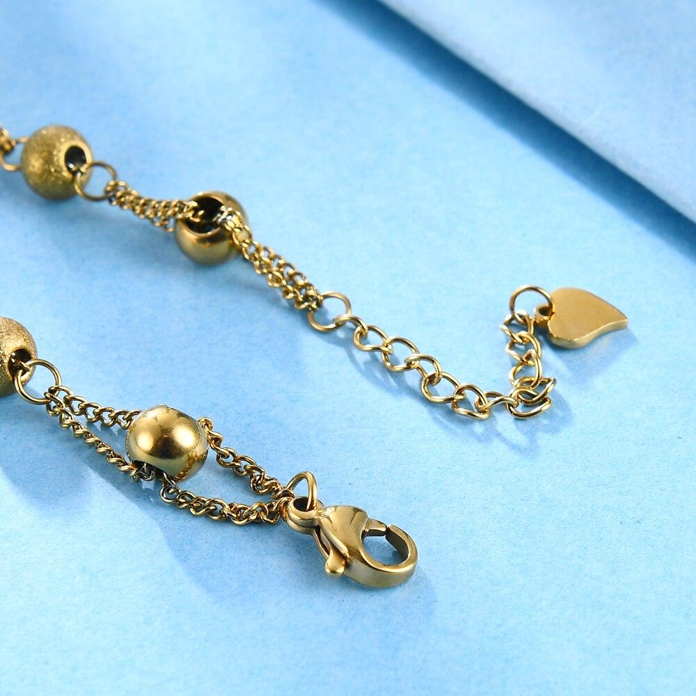 Купить браслет цепочка женский из нержавеющей стали с бусинами золотого