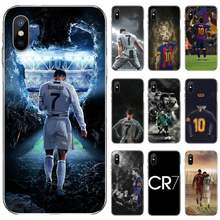 Ronaldo Sepak Bola Superstar Lionel Messi Silikon Hitam untuk Iphone 4 4S 5 5S 5 5c Se 6 6S 7 7 Plus X Xs Xr 11 Pro Max(China)
