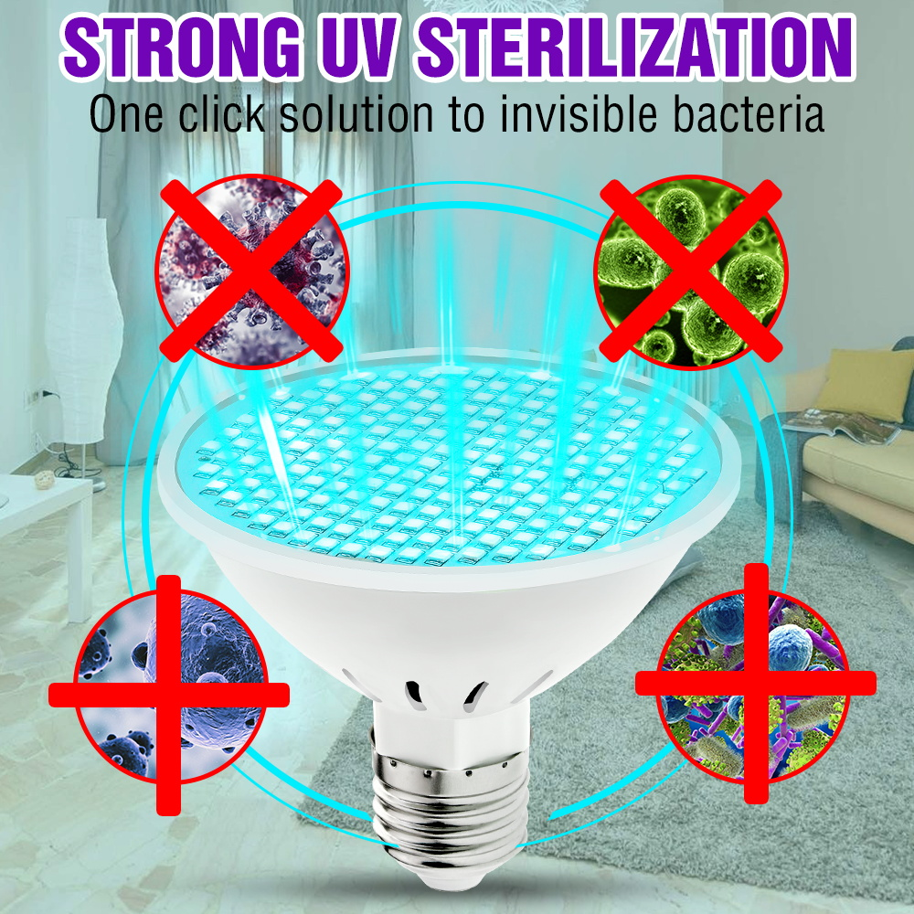 <font><b>UV</b></font> Sterlizer Lamp UVC <font><b>Bulb</b></font> <font><b>E27</b></font> 25W 35W 50W Germicida Led Light 220V Disinfection Bactericidal Led <font><b>Bulb</b></font> 110V Ozone Led Lamp 2835 image