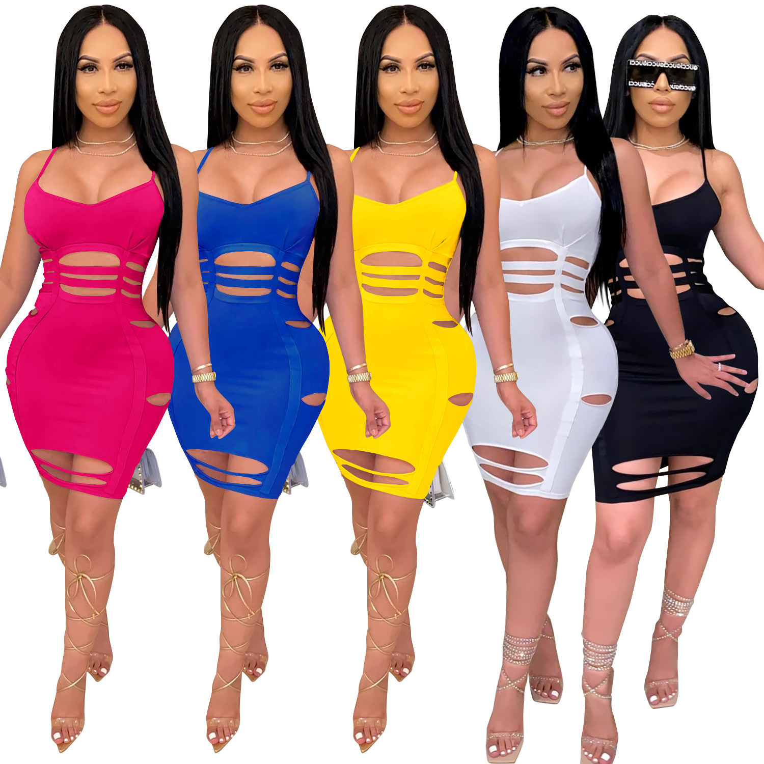 Zoctuo Solid Woman Sexy Bodycon Dress Spaghetti Strap Sleeveless Club Dress Hole V-Neck Sexy Dresses for Women Party Club Night