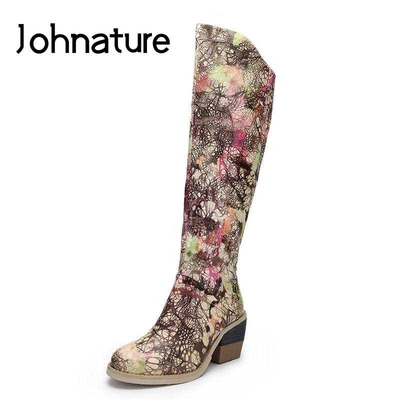 Johnature ботинки из натуральной кожи на платформе в стиле ретро; женская обувь; Новинка 2019 года; зимние ботинки из овечьей кожи на высоком каблуке с круглым носком на молнии