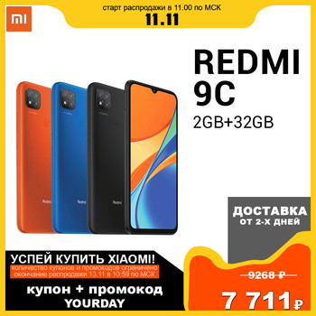 "Xiaomi Redmi 9C 9 C 2GB 32GB Smartphone Helio G35 Octa Core 6.53"" DotDrop Display 13MP Triple Cameras 5000mAh"