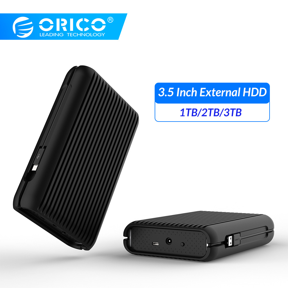 ORICO <font><b>3.5</b></font> Inch External Hard Drive Disk <font><b>HDD</b></font> 1TB <font><b>2TB</b></font> 3TB USB C Hard Disk HD USB3.1 Gen2 10Gbps Type-C Cable With EU Power Adapter image