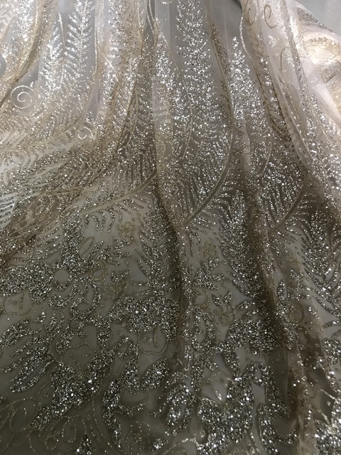 new design african french glued glitter lace fabric JIANXI.C 62311 african glitter lace fabric For Wedding Dress
