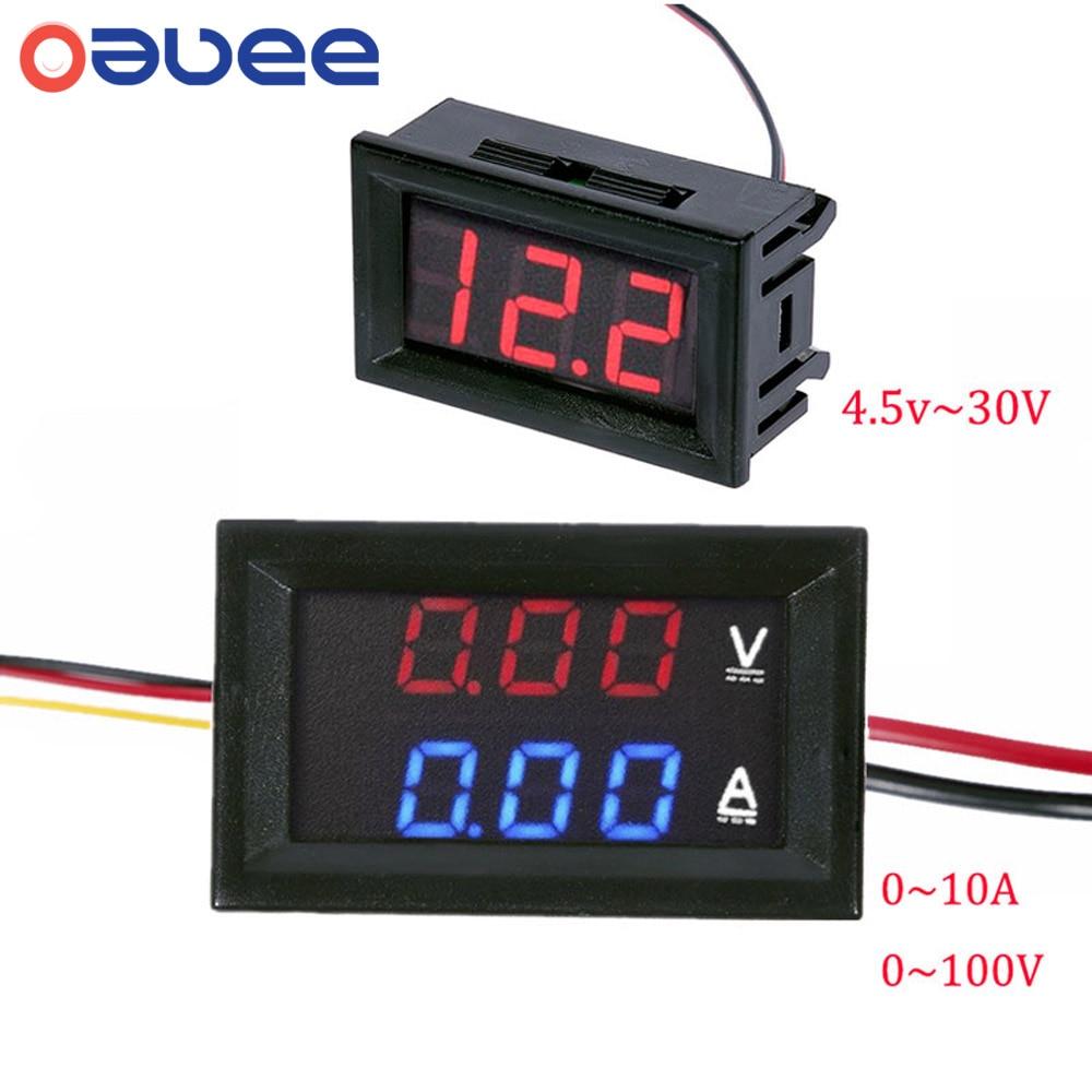 Вольтметр амперметр постоянного тока 100 в 10 а синий красный светодиодный двойной цифровой вольтметр амперметр 4,5 в до 30 в вольтметр измерите...
