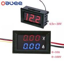 Dc 100v 10a voltímetro amperímetro azul vermelho led amp duplo digital volt medidor de medidor 4.5v a 30v voltímetro medidor de tensão dropshipping