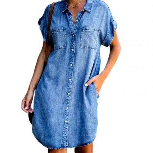 Fashion Women Short Sleeve Pockets Single-breasted Irregular Hem Knee-length Denim Shirt Dress