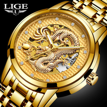 LIGE Mens Watches Top Luxury Brand Watch Stainless Steel Waterproof Automatic Mechanical Dragon Watch Men Relogio Masculino+Box
