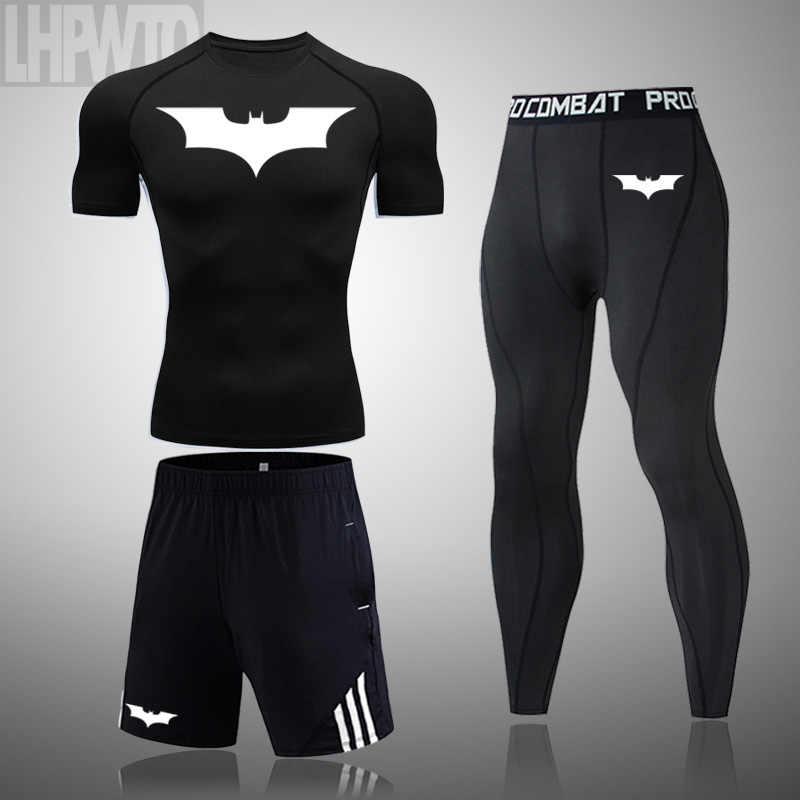 2020 di marca Batman uomo Corsa E Jogging di Compressione Set Vestiti di Sport Scarni Calzamaglie Abbigliamento Da Palestra Abbigliamento Sportivo di Fitness t-shirt Quick Dry