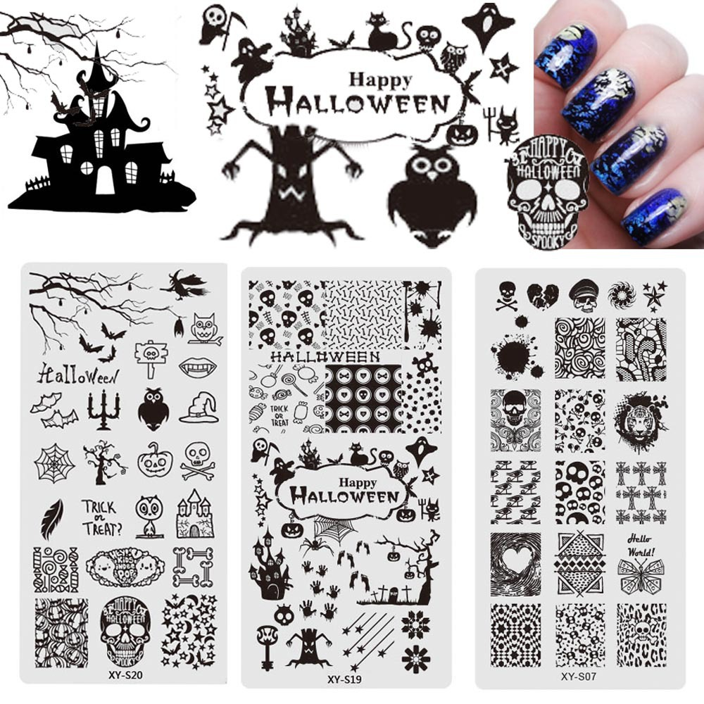 NICOLE DIARY Halloween Nail Stamping Plates Flower Snakeskin Nail Template Stamp Nail Art Stamp Image Template Nail Art Stencil