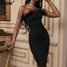 Ingoo Весна перьями платье с открытыми плечами bodycon Для женщин