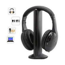 5 in 1 Wireless Stereo Headphones with 3.5mm Music Microphone  with noise cancellation TV Earphones for MP3 PC TV FM iPod phone ihome id95sz silver dual alarm with fm ipod