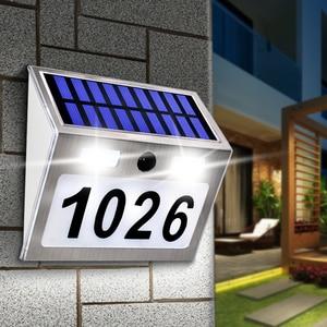 Image 1 - Güneş ev numarası plak ışık 200LM hareket sensörlü LED işıklar adres numarası ev bahçe kapı güneş lambası aydınlatma