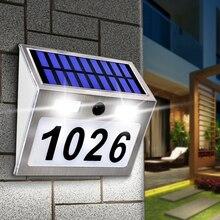 Luz solar da placa do número da casa com sensor de movimento 200lm luzes led número endereço para casa jardim porta iluminação da lâmpada solar