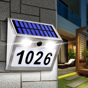 Image 1 - Solar Haus Anzahl Plaque Licht mit 200LM Motion Sensor Led leuchten Adresse Anzahl für Home Garten Tür Solar Lampe Beleuchtung