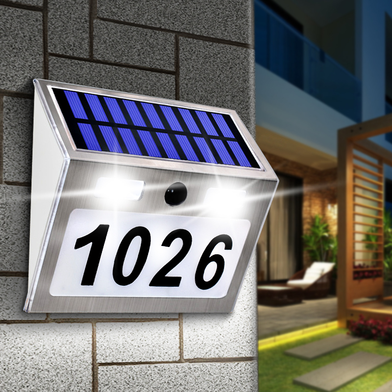 Solar House Number Plaque Light with 200LM Motion Sensor LED Lights Address Number for Home Garden Door Solar Lamp Lighting|Solar Lamps|   - AliExpress