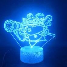 Лига Легенд teemo 3d лампа лидер продаж сенсорный датчик уникальный