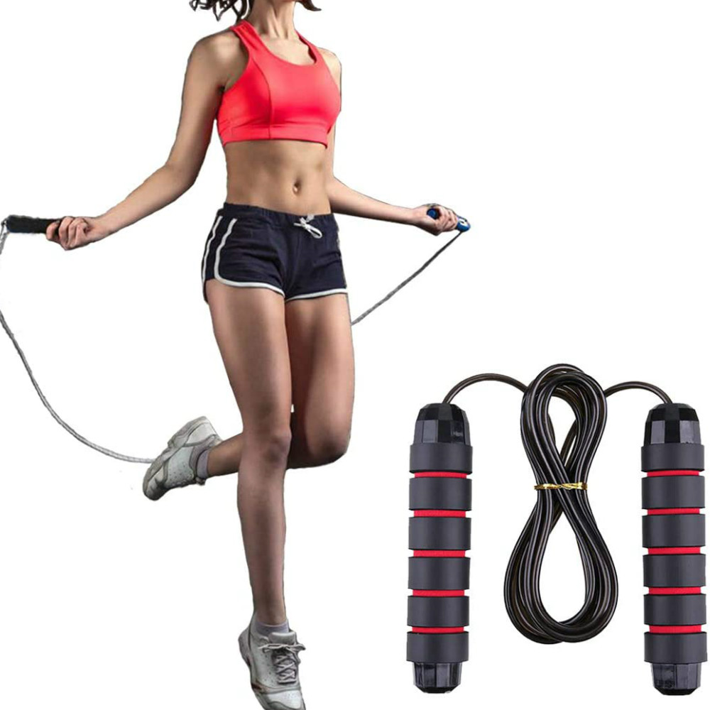 Adjustable Jumping Workout with Memory Foam Handles Tangle-Free Ball Bearings Rapid Speed Jump Rope Cable Metme Jump Rope