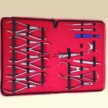 Orthodontic Orthodontic 18 Piece Set Orthodontic Tool Dental Technician Complete Set of Dental Orthodontic Stainless Steel Instr