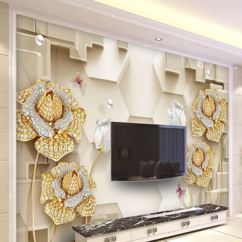 Custom Large Mural 3D Wallpaper Stylish Modern Luxury Chinese Style Flower Abstract Space Bedroom TV Wall Decor 5D Embossed
